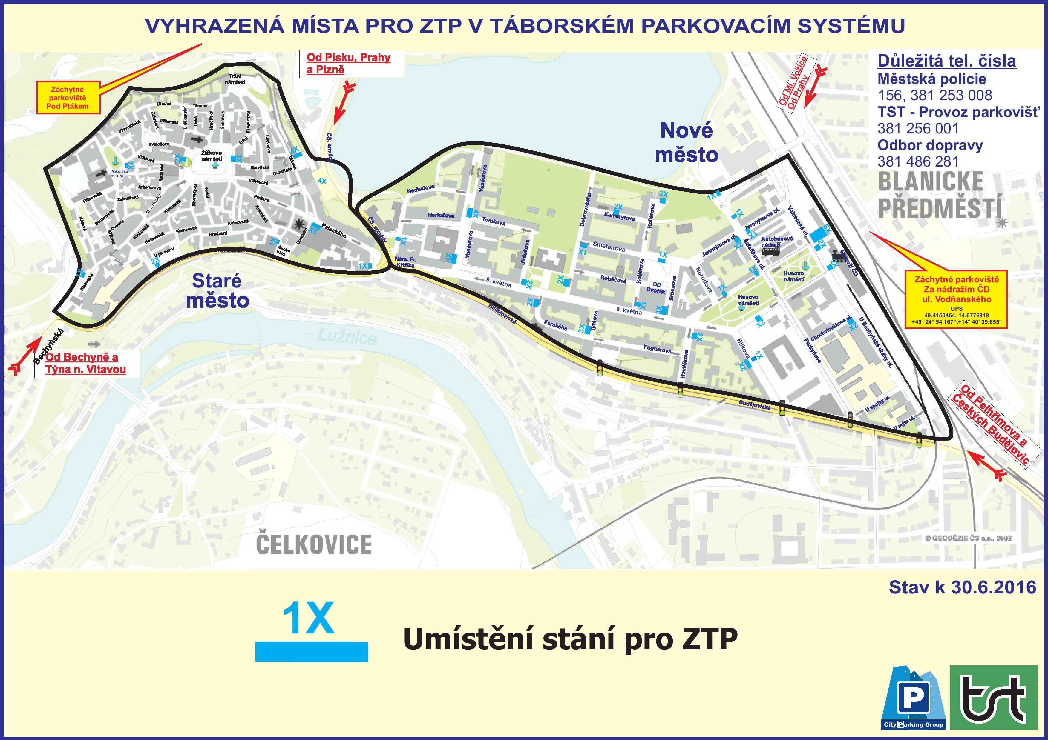 Mapy Parkovacího systému města Tábor