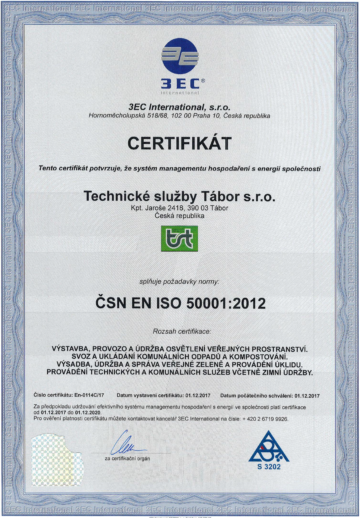 Certifikát ČSN EN ISO 50001:2012