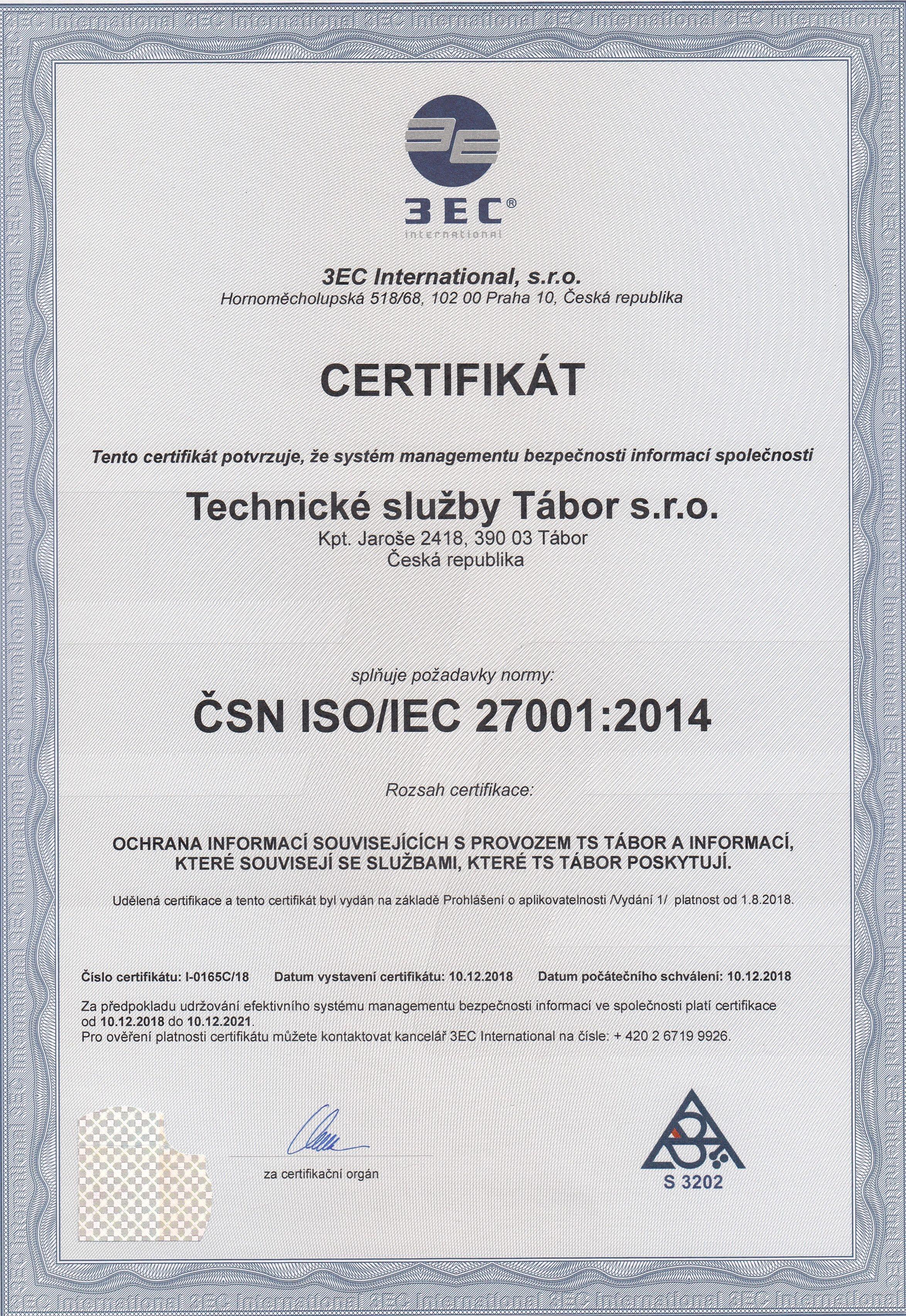 Certifikát ČSN EN ISO 27001:2014