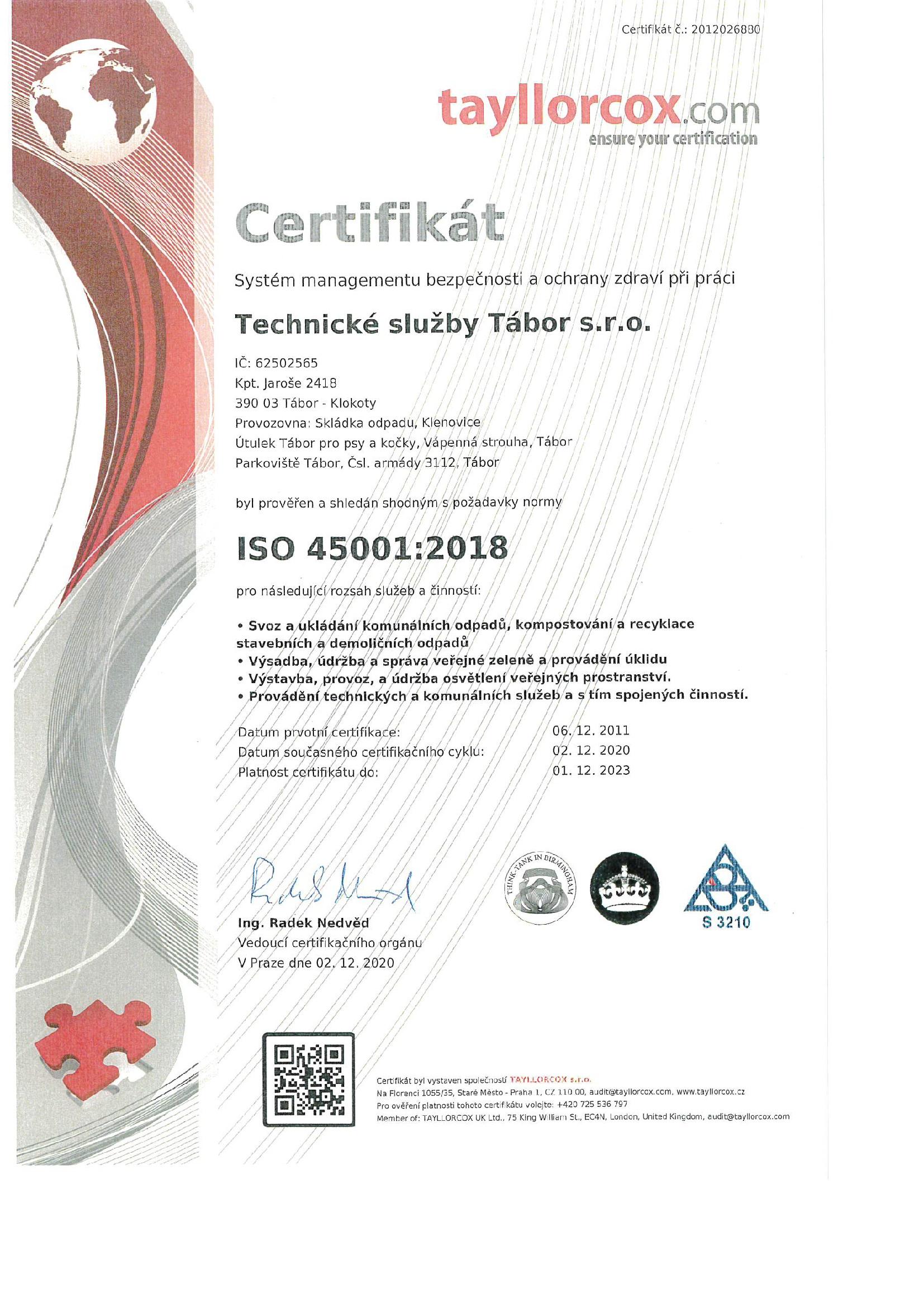 Certifikát Systém managementu bezpečnosti a ochrany zdraví při práci ISO 45001-2018
